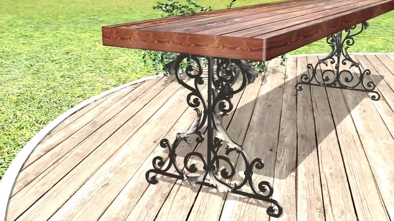 кованые столы для дачи фото просто