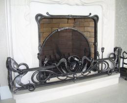 Кованые каминные наборы, дровницы, решетки №30