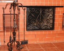 Кованые каминные наборы, дровницы, решетки №113
