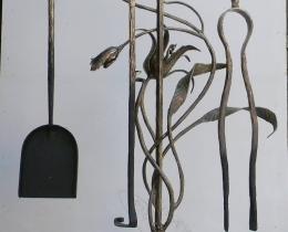 Кованые каминные наборы, дровницы, решетки №124
