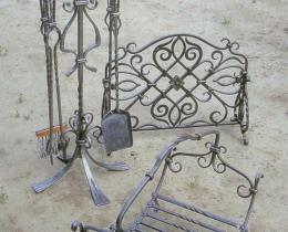 Кованые каминные наборы, дровницы, решетки №127