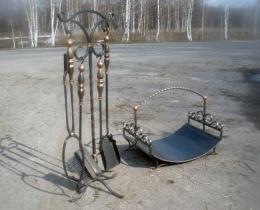 Кованые каминные наборы, дровницы, решетки №82