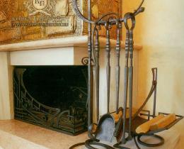 Кованые каминные наборы, дровницы, решетки №32